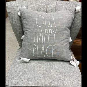 New Rae Dunn OUR HAPPY PLACE Grey White Pillow